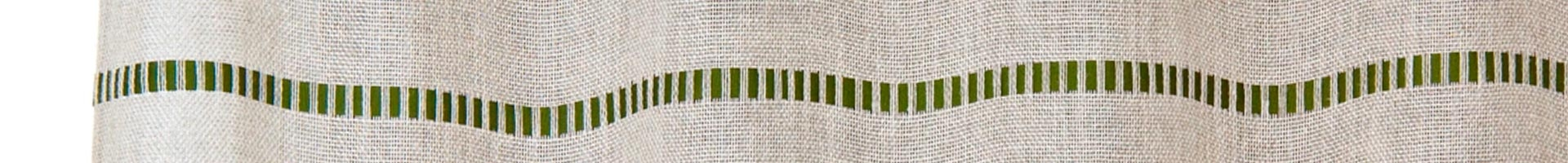 Curtain panel in lino 'Capalbio' with green stitching