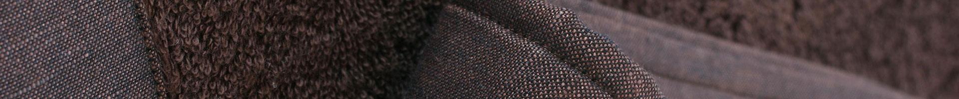 Brown bath set cotton bordered in linen