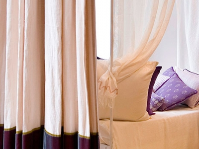 Velvet bordered curtain with contrasting ribbon