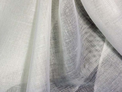 Fire retardant white fabrics for sheer