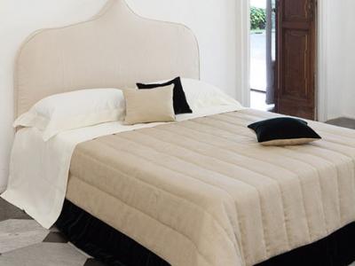 Rodi quilted 270x270 bedcover 100% linen bordered in velvet