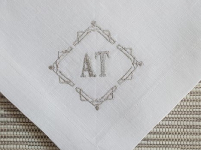 100% linen napkin with embroidered initial