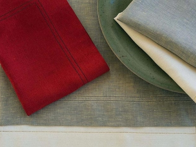 100% coloured linen tablemats and napkins with double hemstitch