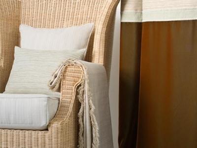 Curtain panel with velvet border