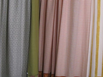 Bordered linen drapes in different colours
