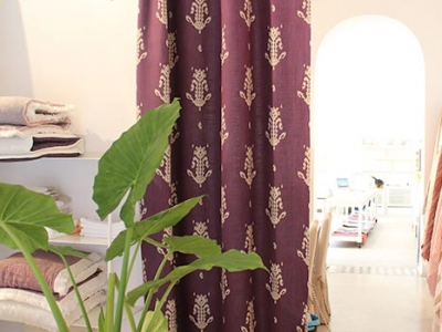 Curtain in 100% NICE Chopper linen colour violet