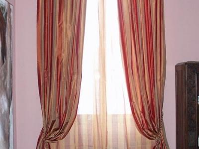 Silk striped drapes
