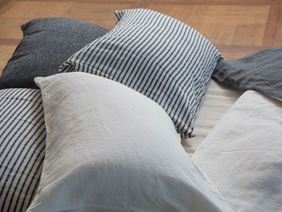 Duvet cover PANTELLERIA in striped black and white linen