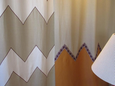Special curtains zig-zag pattern pure linen