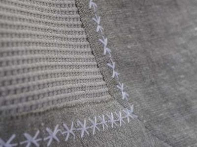 LUNA STAR bed cover 100% cotton border in Laveno linen 'star' stitching