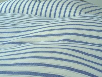 Striped Cerro linen bed sheet set colour white-blue