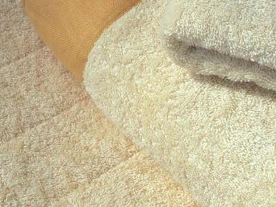 Bathroom rug in terrycloth with border in linrn and bath towel