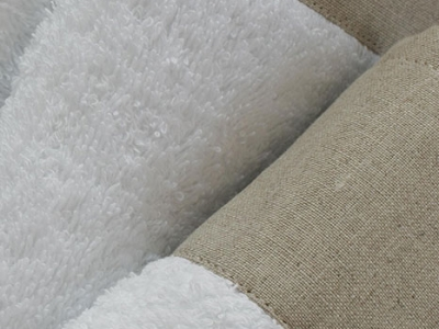 White terrycloth with natural linen border