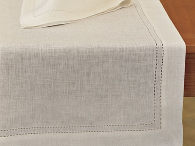 Linen table runner with 2 ajours