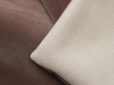 Velvet quilted throw doubled in white wool