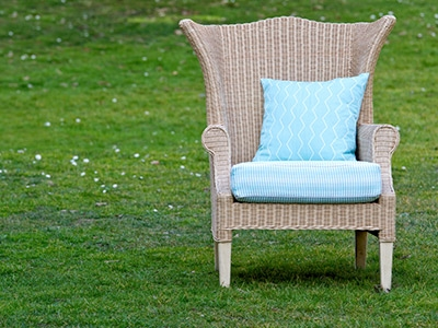 Rattan chair with cushions in pic-nic outdoor fabric