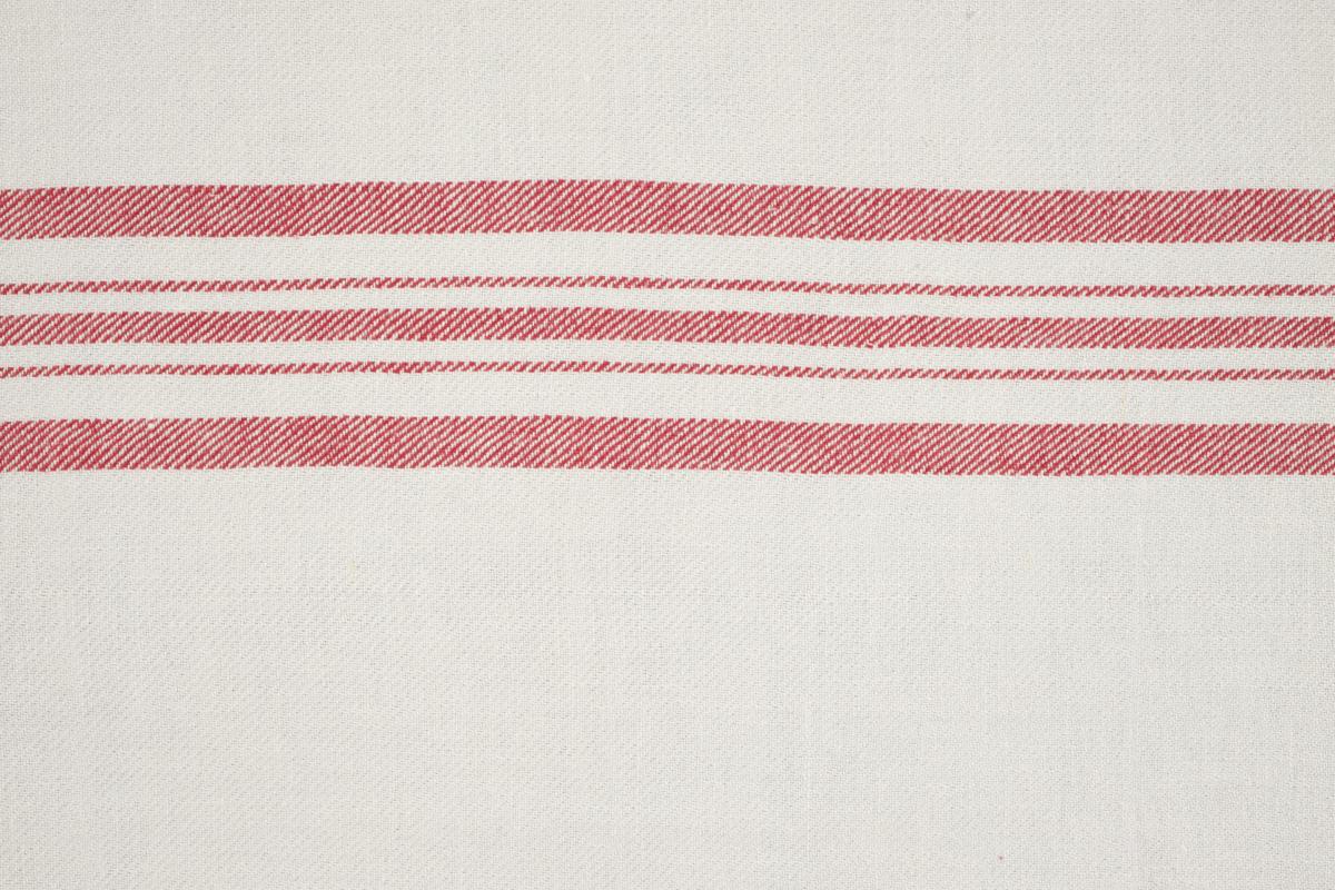 CASTELLINO TWILL BARRE' MACHE' Off White Red Stripes